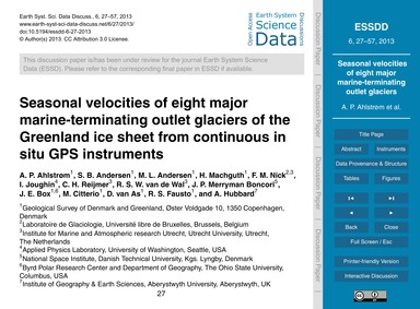 Seasonal Velocities of Eight Major Marin... by Ahlstrøm, A. P.
