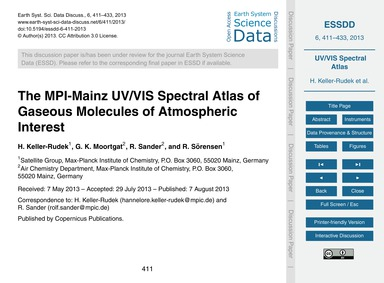 The Mpi-mainz Uv/Vis Spectral Atlas of G... by Keller-rudek, H.