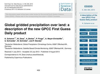 Global Gridded Precipitation Over Land: ... by Schamm, K.
