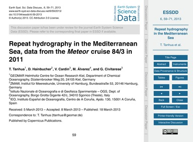 Repeat Hydrography in the Mediterranean ... by Tanhua, T.