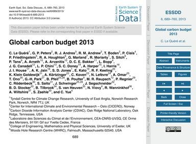 Global Carbon Budget 2013 : Volume 6, Is... by Le Quéré, C.