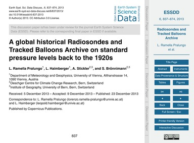 A Global Historical Radiosondes and Trac... by Ramella Pralungo, L.
