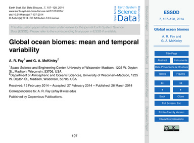 Global Ocean Biomes: Mean and Temporal V... by Fay, A. R.