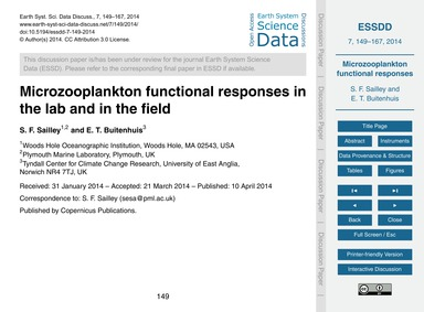 Microzooplankton Functional Responses in... by Sailley, S. F.