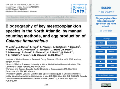 Biogeography of Key Mesozooplankton Spec... by Melle, W.