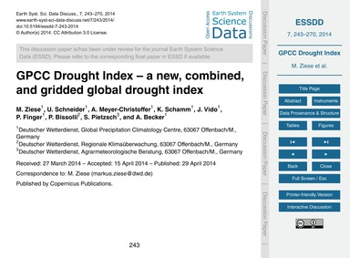 Gpcc Drought Index – a New, Combined, an... by Ziese, M.