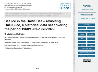 Sea Ice in the Baltic Sea – Revisiting B... by Löptien, U.