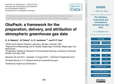 Obspack: a Framework for the Preparation... by Masarie, K. A.