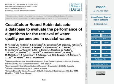 Coastcolour Round Robin Datasets: a Data... by Nechad, B.