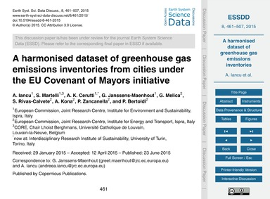 A Harmonised Dataset of Greenhouse Gas E... by Iancu, A.