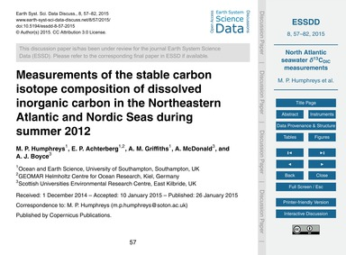 Measurements of the Stable Carbon Isotop... by Humphreys, M. P.