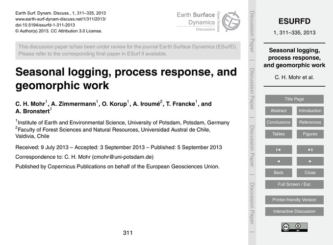 Seasonal Logging, Process Response, and ... by Mohr, C. H.