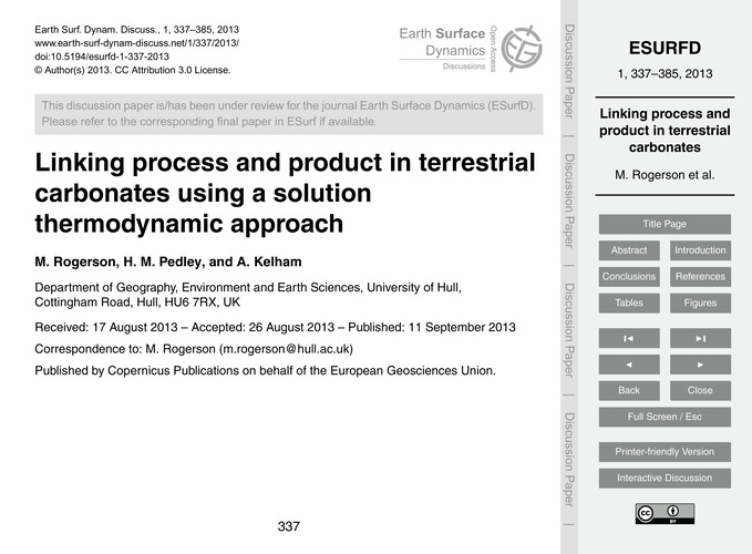 Linking Process and Product in Terrestri... by Rogerson, M.