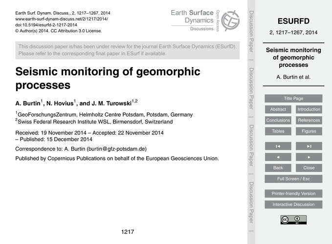 Seismic Monitoring of Geomorphic Process... by Burtin, A.