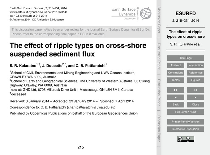 The Effect of Ripple Types on Cross-shor... by Kularatne, S. R.