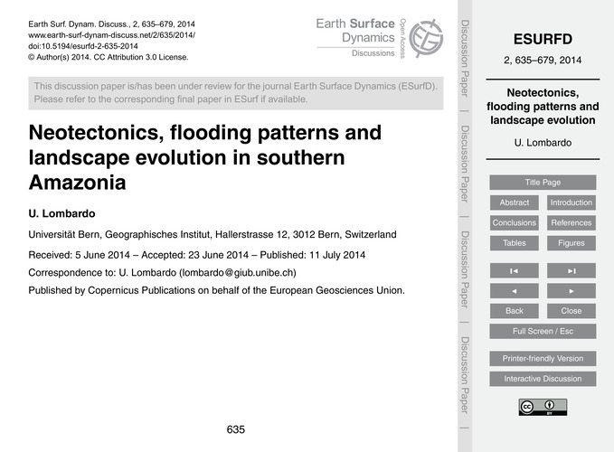 Neotectonics, Flooding Patterns and Land... by Lombardo, U.