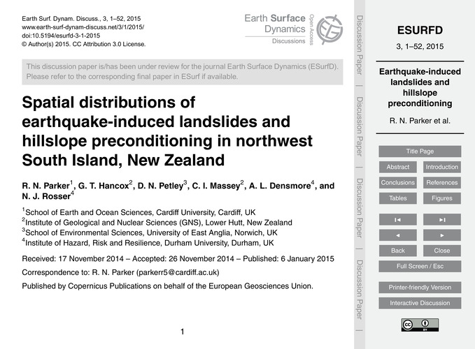 Spatial Distributions of Earthquake-indu... by Parker, R. N.