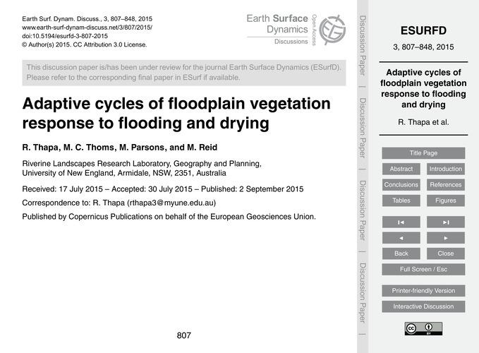 Adaptive Cycles of Floodplain Vegetation... by Thapa, R.