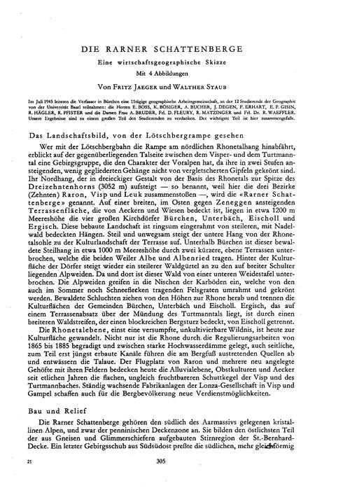 Die Rarner Schattenberge : Eine Wirtscha... by Jaeger, F.