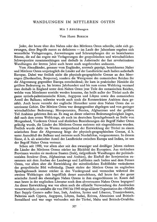 Wandlungen Im Mittleren Osten : Volume 1... by Boesch, H.