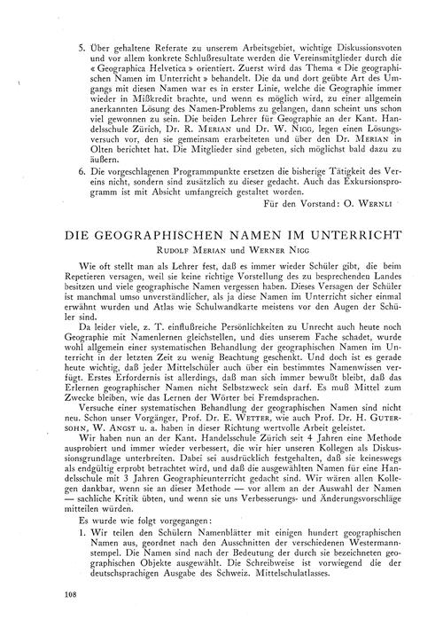 Die Geographischen Namen Im Unterricht :... by Merian, R.