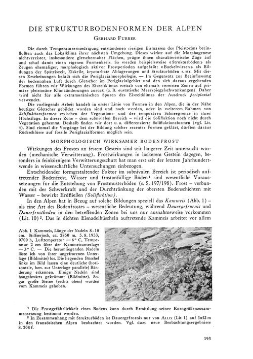Die Strukturbodenformen Der Alpen : Volu... by Furrer, G.