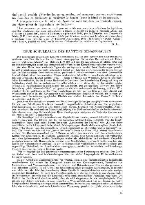 Neue Schulkarte Des Kantons Schaffhausen... by Egli, E.