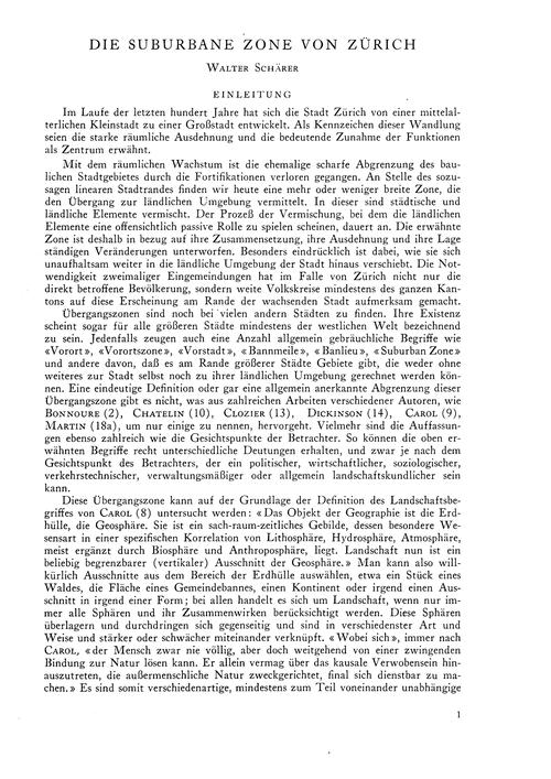 Die Suburbane Zone Von Zürich : Volume 1... by Schärer, W.