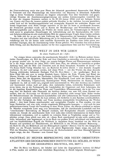 Die Welt in Der Wir Leben : Zu Einem Pra... by Winkler, E.