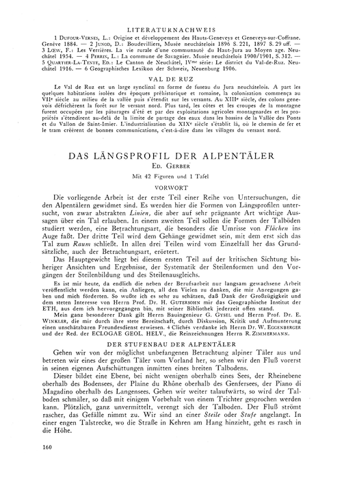 Das Längsprofil Der Alpentäler : Volume ... by Gerber, Ed.