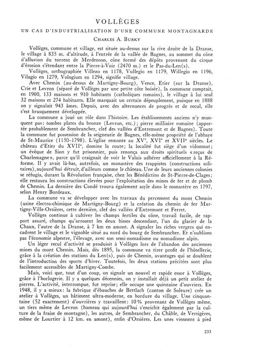 Vollèges : Un Cas D'Industrialisation D'... by Burky, C. A.