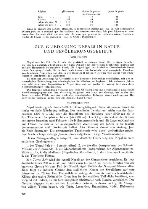 Zur Gliederung Nepals in Natur- Und Bevö... by Hagen, T.