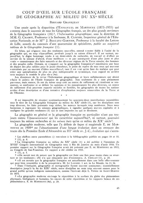 Coup D'Œil Sur L'École Française De Géog... by Grandjean, B.