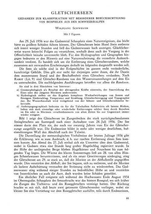 Gletscherseen : Gedanken Zur Klassifikat... by Schweizer, W.