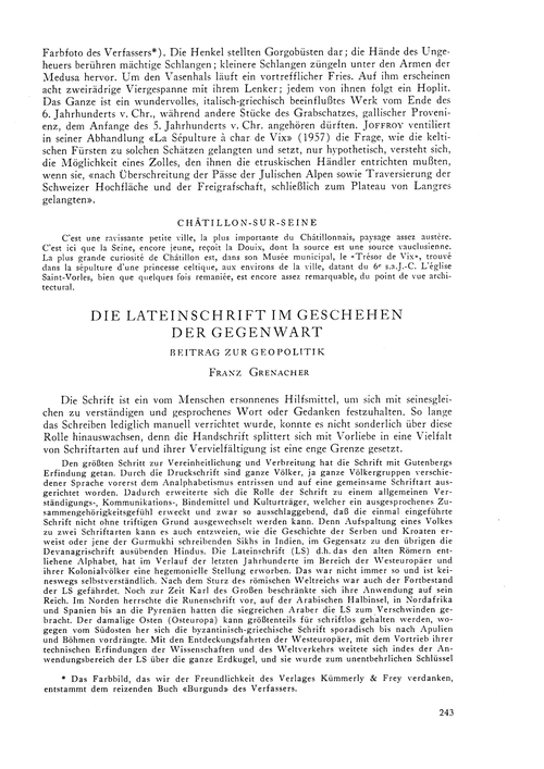 Die Lateinschrift Im Geschehen Der Gegen... by Grenacher, F.