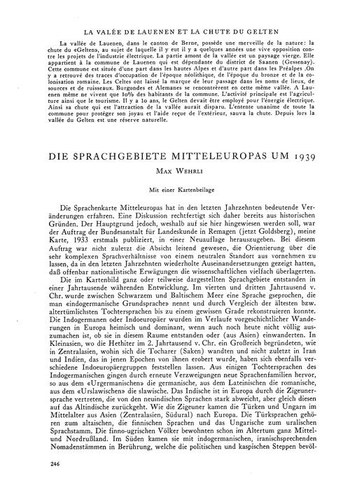 Die Sprachgebiete Mitteleuropas Um 1939 ... by Wehrli, M.