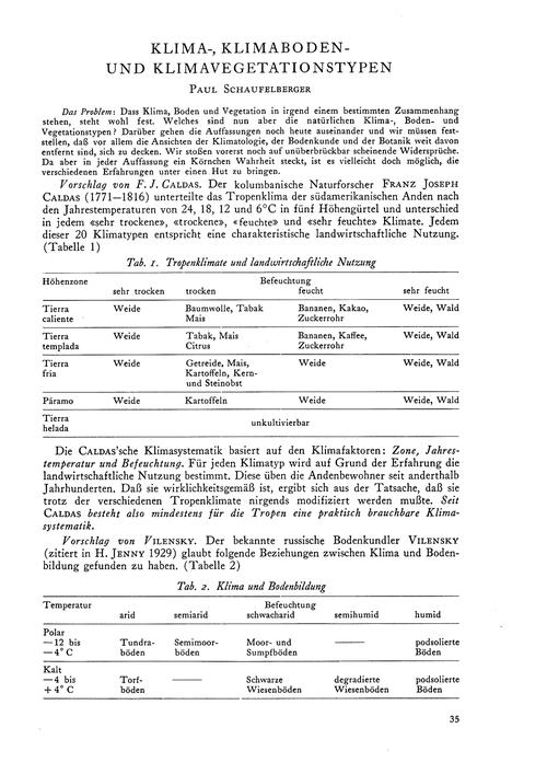 Klima-, Klimaboden- Und Klimavegetations... by Schaufelberger, P.