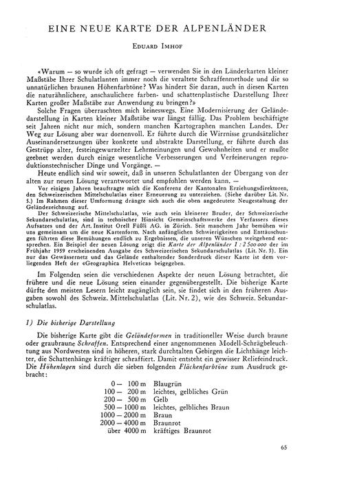 Eine Neue Karte Der Alpenländer : Volume... by Imhof, E.