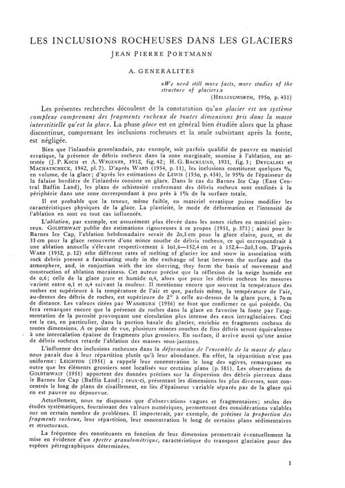 Les Inclusions Rocheuses Dans Les Glacie... by Portmann, J. P.