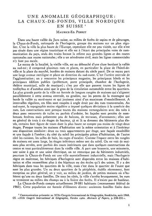 Une Anomalie Géographique : La Chaux-de-... by Perret, M.-e.