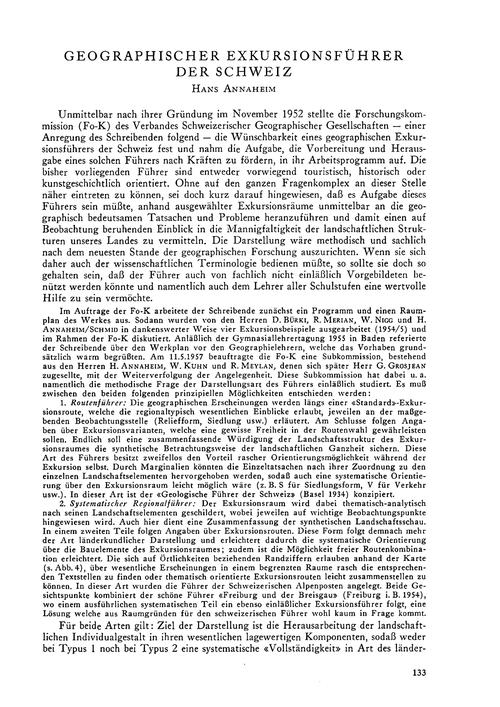 Geographischer Exkursionsführer Der Schw... by Annaheim, H.