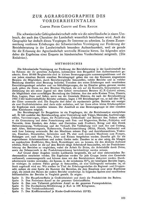 Zur Agrargeographie Des Vorderrheintales... by Casutt, C.