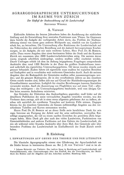 Agrargeographische Untersuchungen Im Rau... by Wehrle, R.