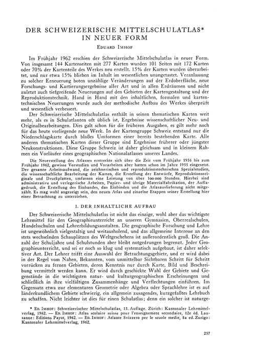 Der Schweizerische Mittelschulatlas in N... by Imhof, E.