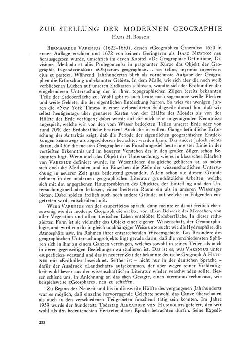 Zur Stellung Der Modernen Geographie : V... by Boesch, H. H.
