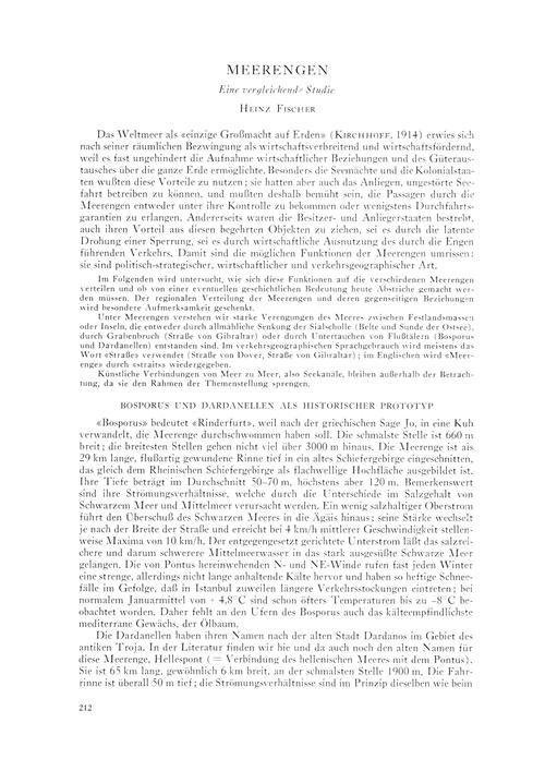 Meerengen : Eine Vergleichende Studie : ... by Fischer, H.