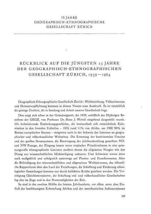 Rückblick Auf Die Jüngsten 25 Jahre Der ... by Egli, E.