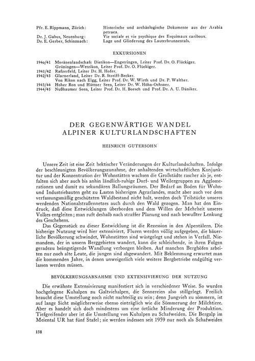 Der Gegenwärtige Wandel Alpiner Kulturla... by Gutersohn, H.