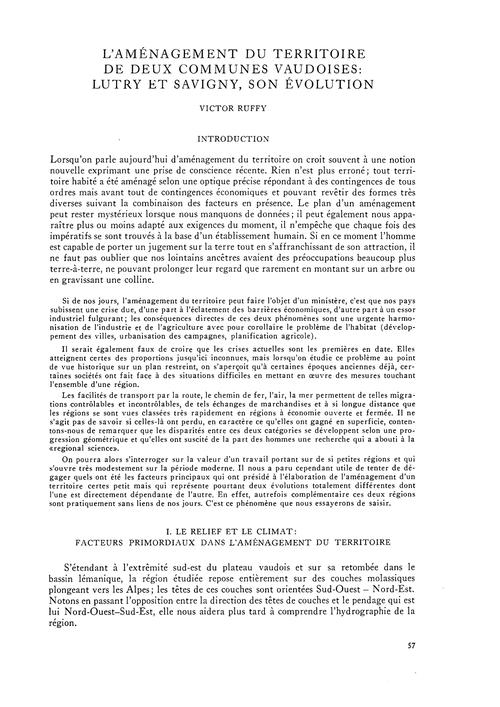 L'Aménagement Du Territoire De Deux Comm... by Ruffy, V.
