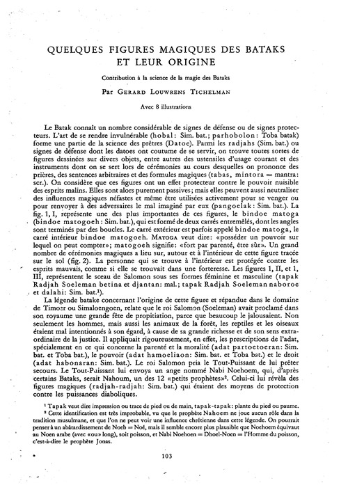 Quelques Figures Magiques Des Bataks Et ... by Tichelman, G. L.
